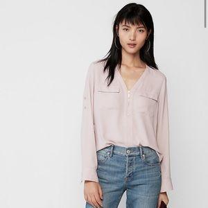 Express peach pink portofino gold zipper blouse xs